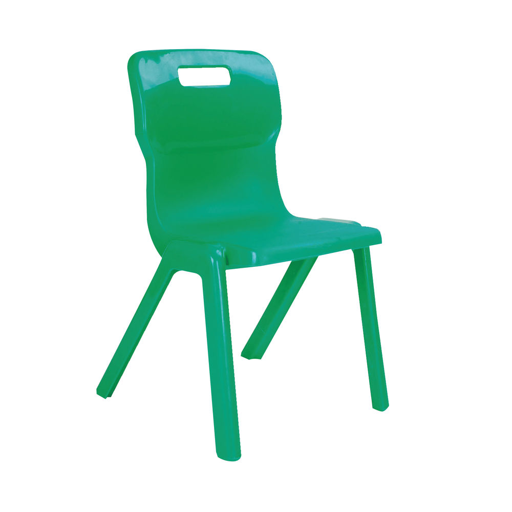 Titan 350mm Green One Piece Chairs, Pack of 10