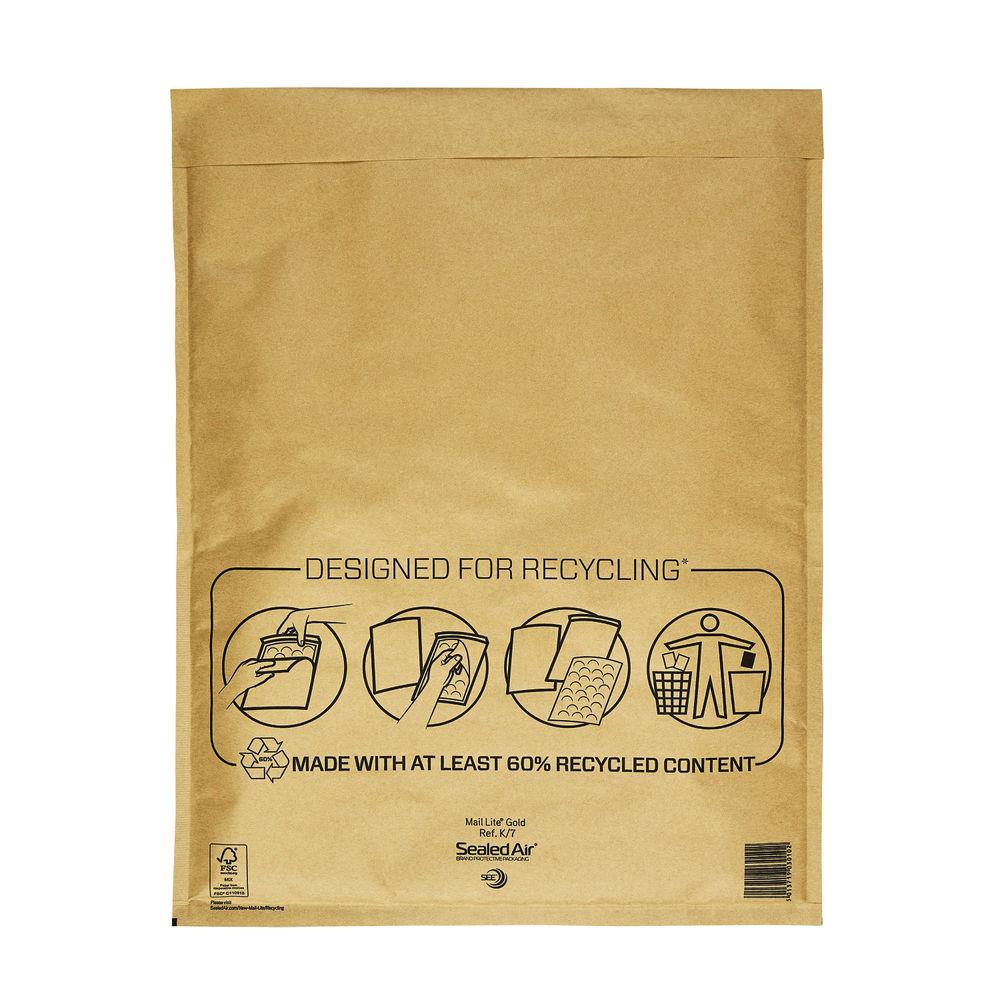Mail Lite Gold Bubble Envelope - Size K/7 - Pack of 50 - MLGK/7