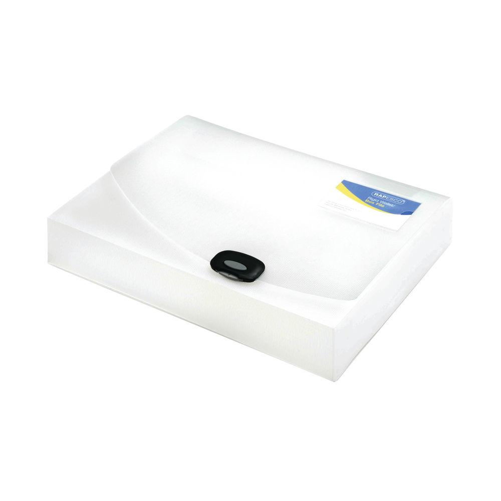 Rapesco Rigid Wallet Box File 60mm Capacity 600 Sheets A4 Clear 0714