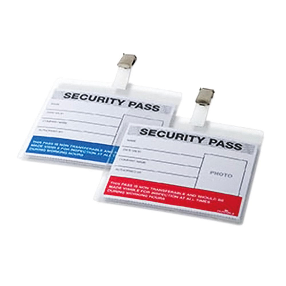 Durable 110 x 90mm Blue/Red Colour Coded Security Passes, Pack of 25 - 999108004