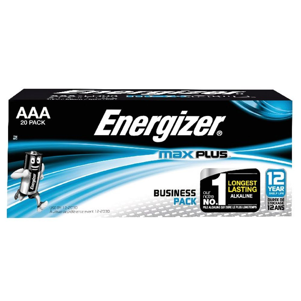 Energizer Max Plus AAA Batteries, Pack of 20 - E301322900