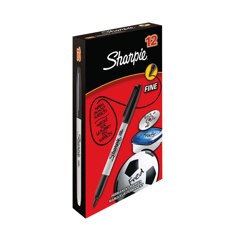 Sharpie Fine Bullet Tip Black Permanent Marker Pens, Pack of 12 - S0192654