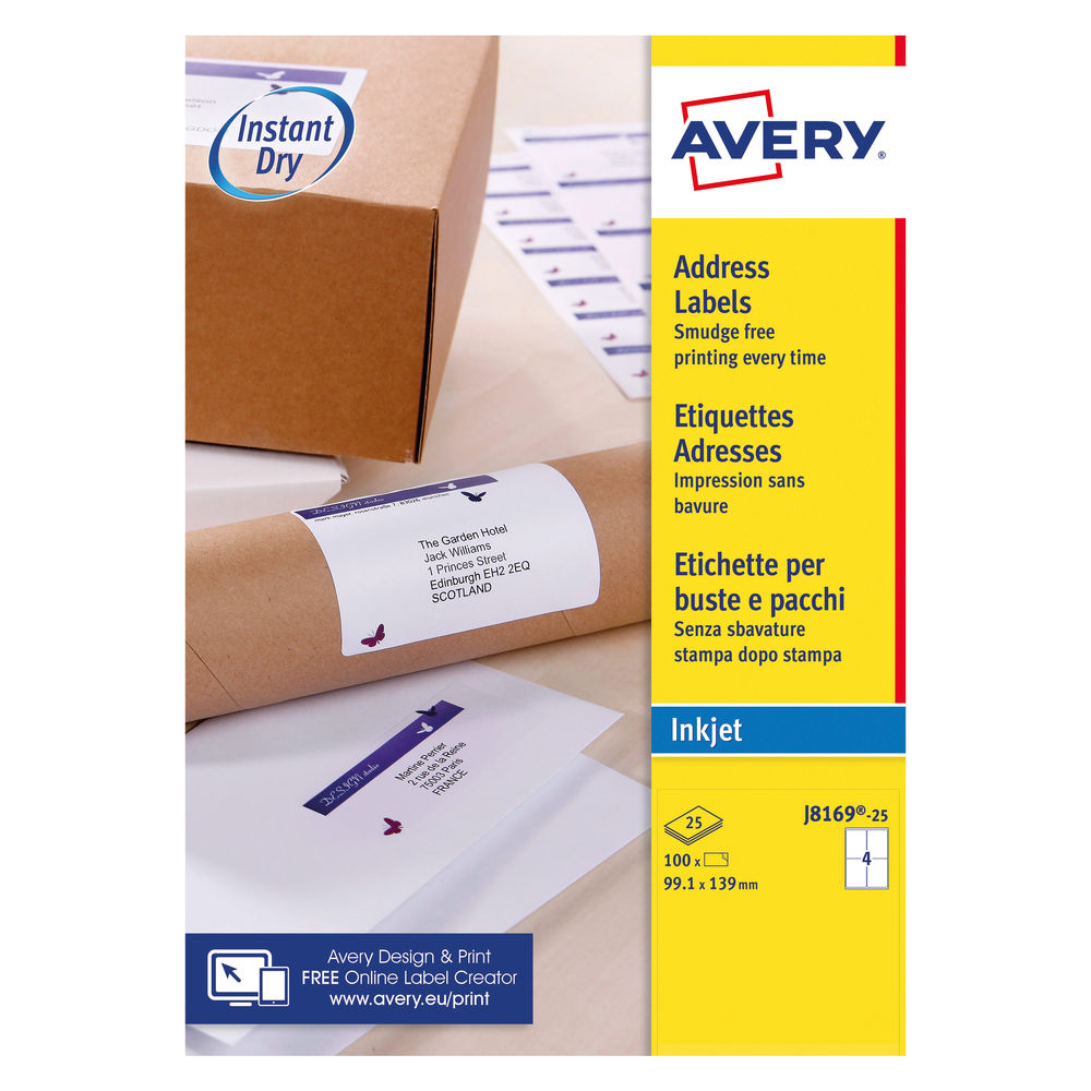Avery Inkjet Parcel Labels 4 Per Sheet White (Pack of 100) J8169-25