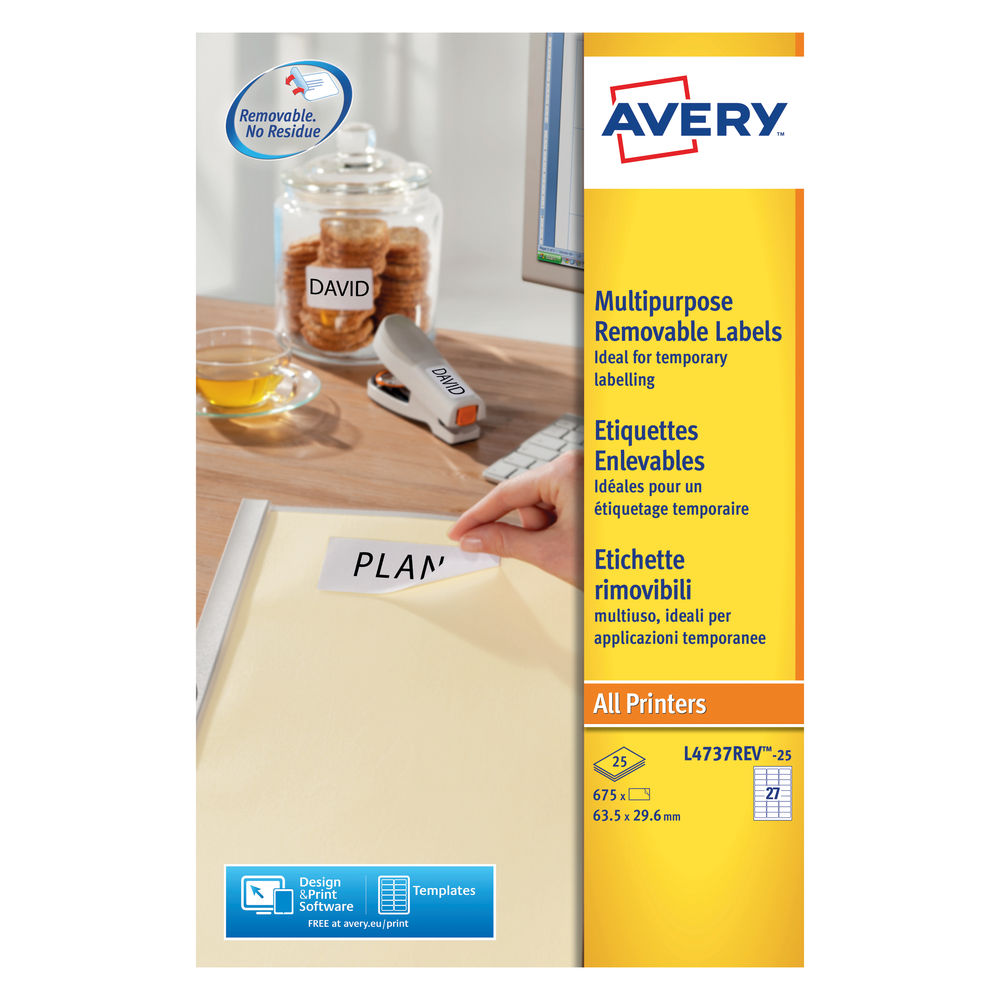 Avery Removable Labels 27 Per Sheet White (Pack of 675) L4737REV-25