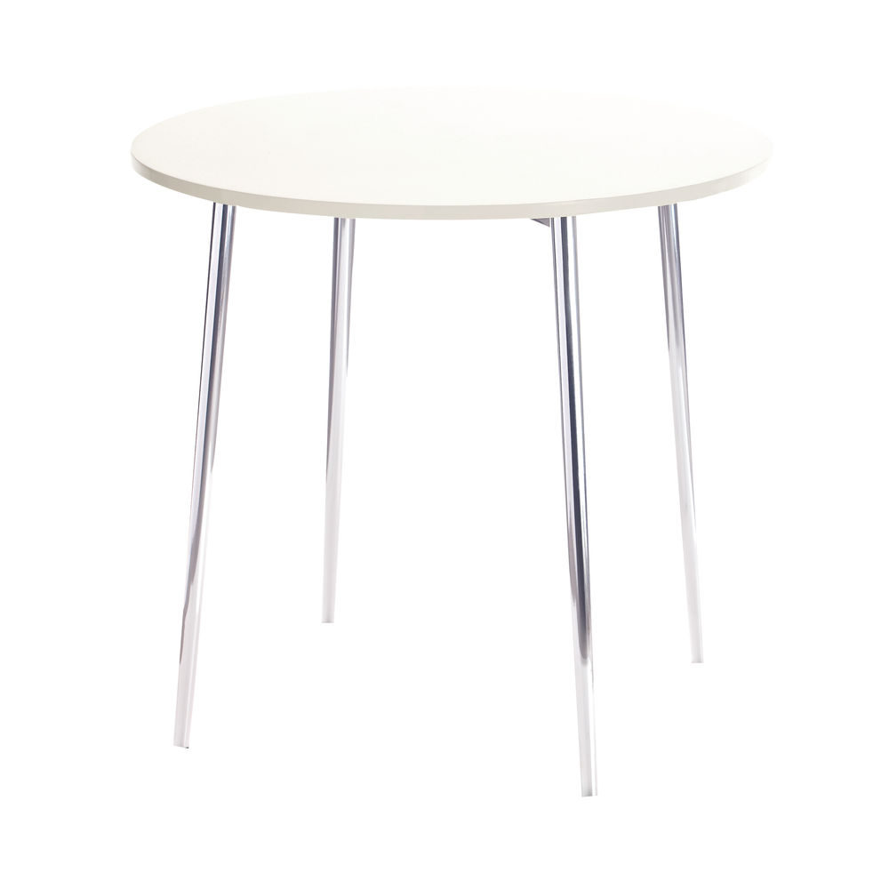 Jemini 800mm White/Chrome Round Bistro Table