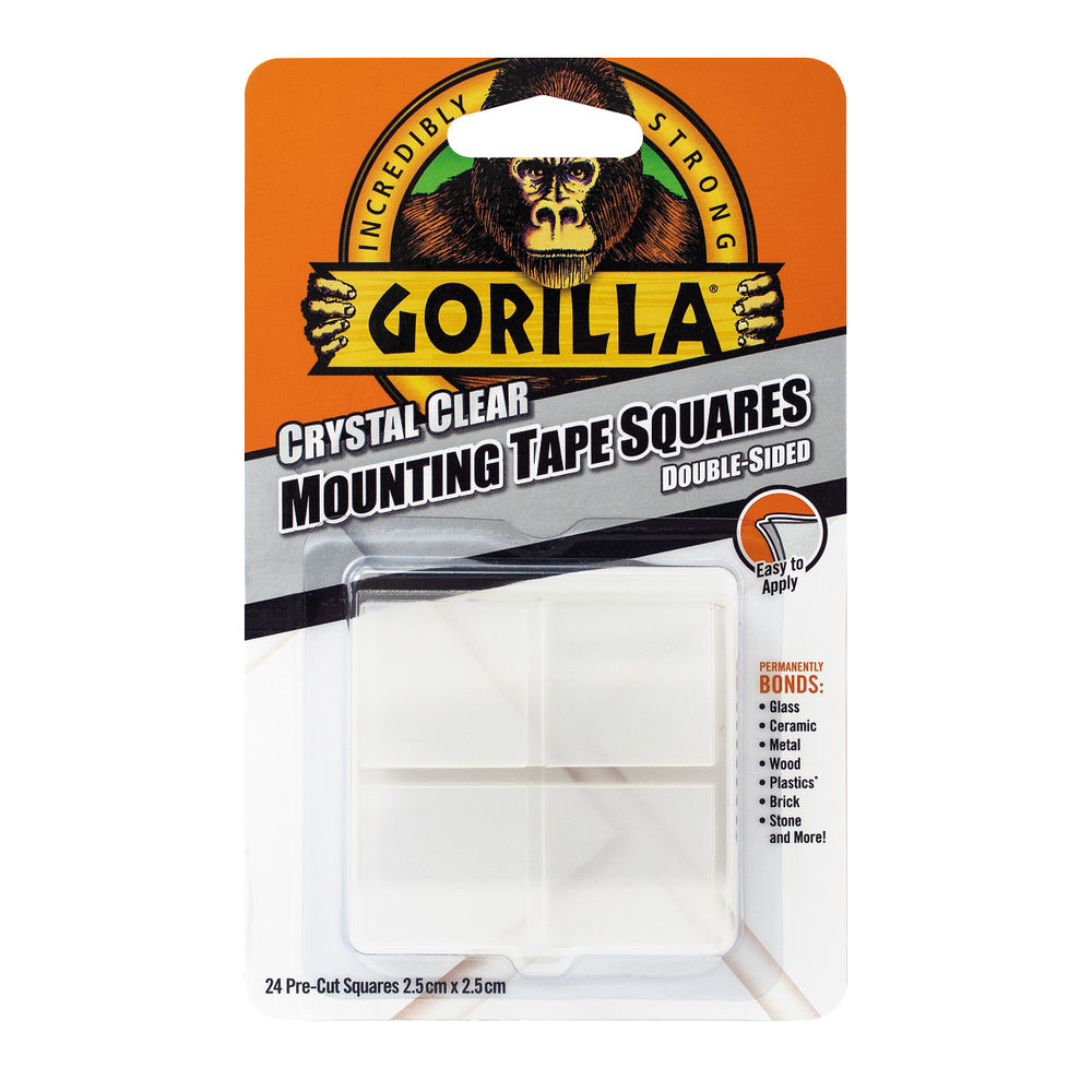 Gorilla Clear Mounting Tape Squares, Pack of 24 – 3044111