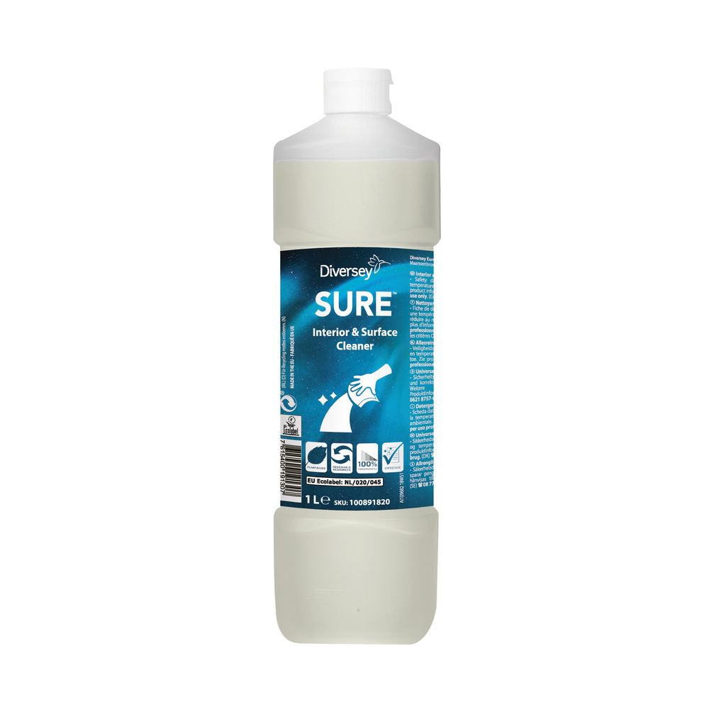 Diversey Sure Interior and Surface Cleaner Plant-Based 1 Litre 100891820