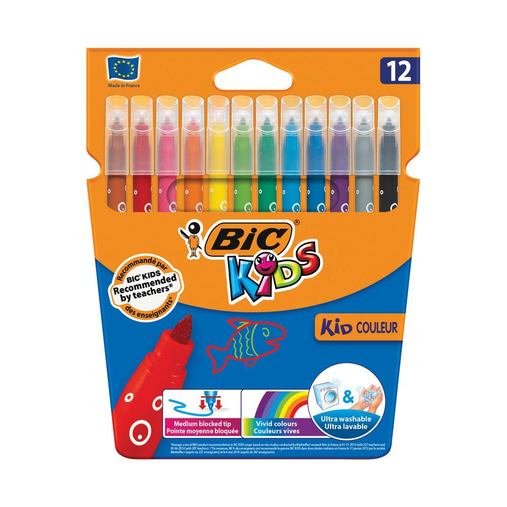 Bic KID COULEUR Washable Felt Tip Pens Medium Tip (Pack of 12) 920293