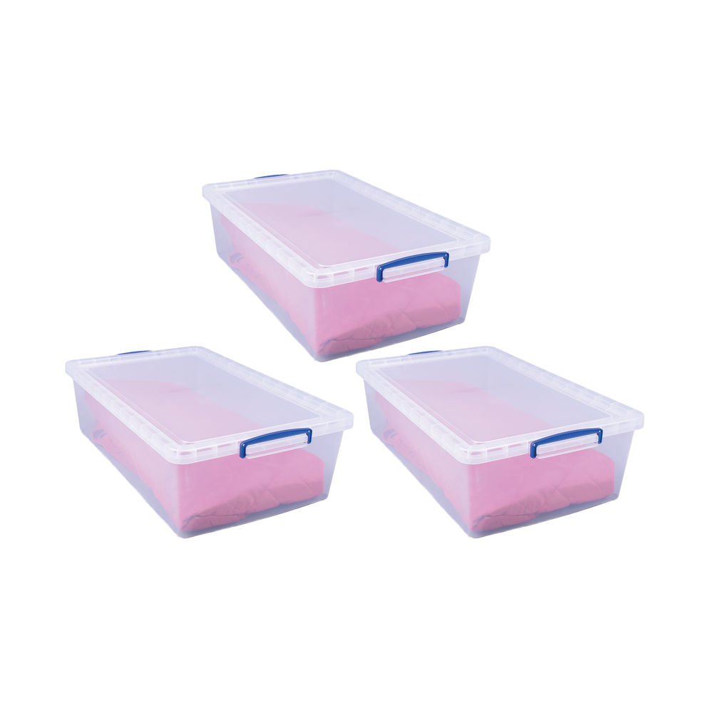 Really Useful Stackable Storage Box 43L Clear (Pack of 3) 43-CCB-PK3