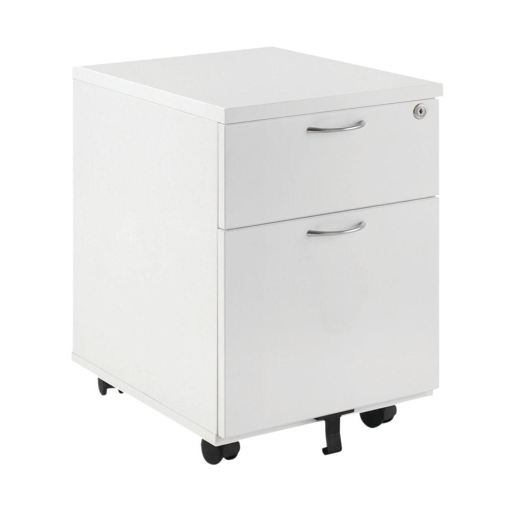 First White 2 Drawer Under Desk Mobile Pedestal