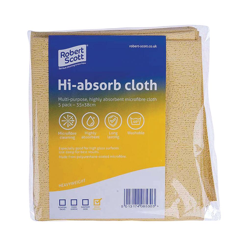 Robert Scott Yellow Hi-Absorb Microfibre Cloths, Pack of 5 - 103986YELLOW