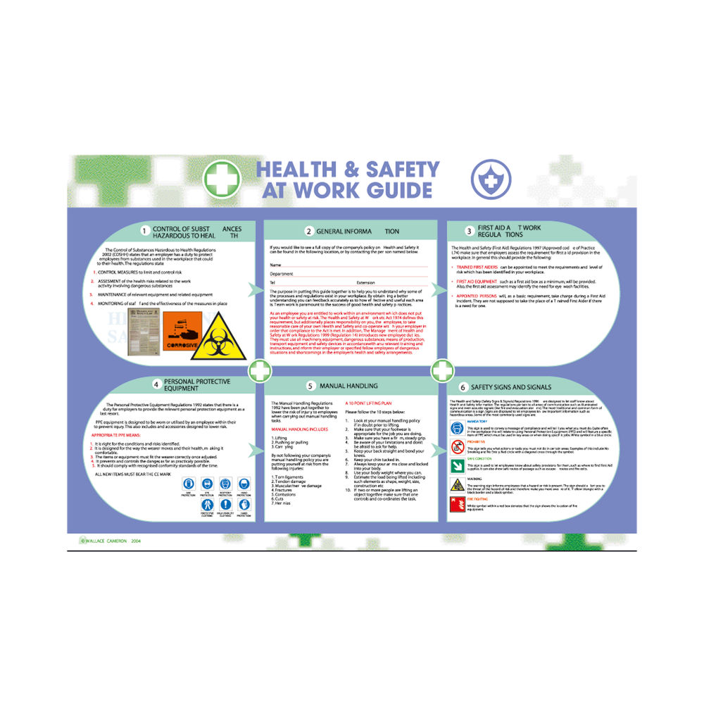 Wallace Cameron 590 x 420mm Health and Safety at Work Poster - 5405052