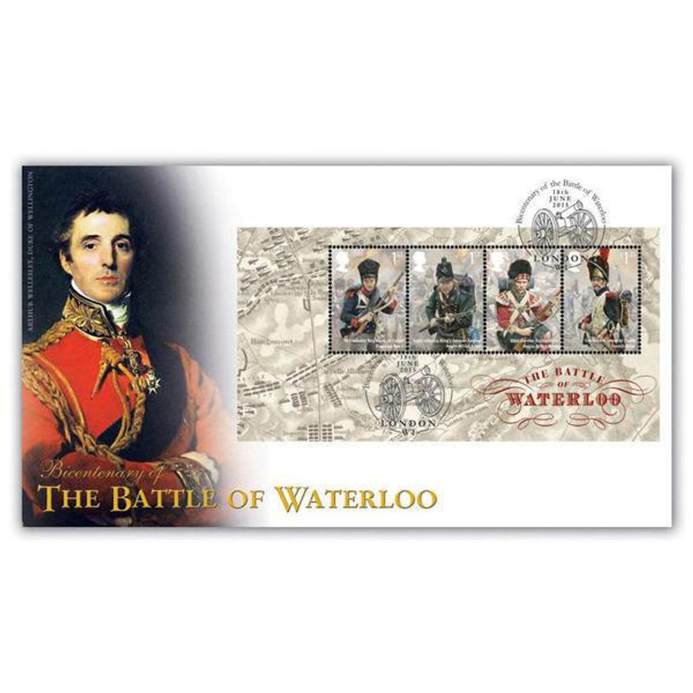 The Battle of Waterloo Miniature Sheet First Day Cover - BC526M