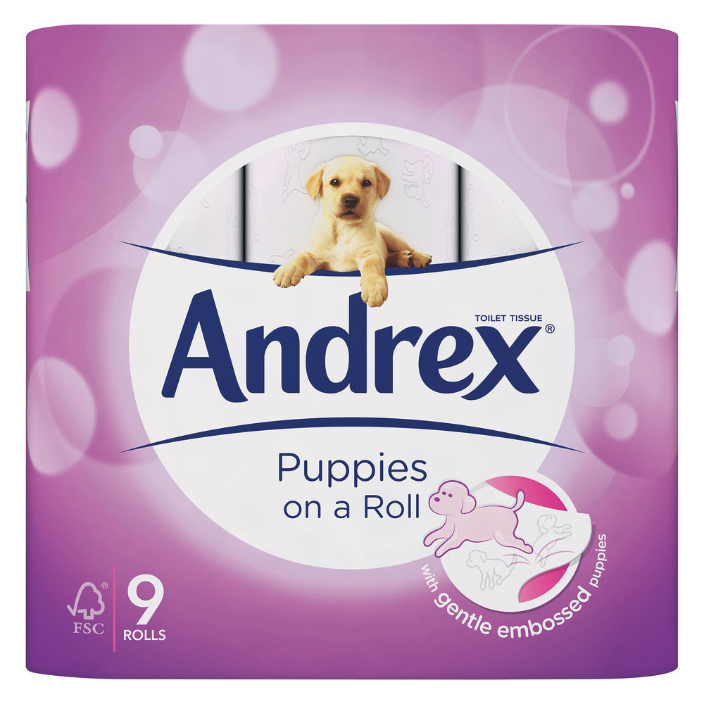Andrex Puppies On A Roll Toilet Roll, Pack of 9 - 4978748