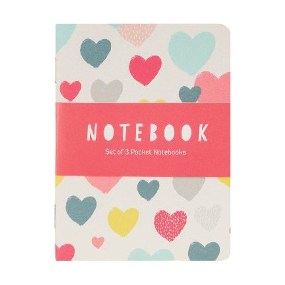 Go Stationery Hearts Pocket Notebooks (Pack of 3) – MIN405