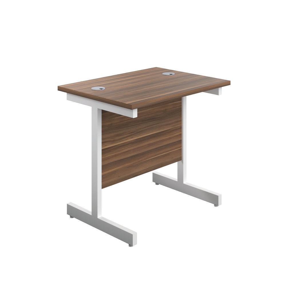 Jemini 800x600mm Dark Walnut/White Single Rectangular Desk