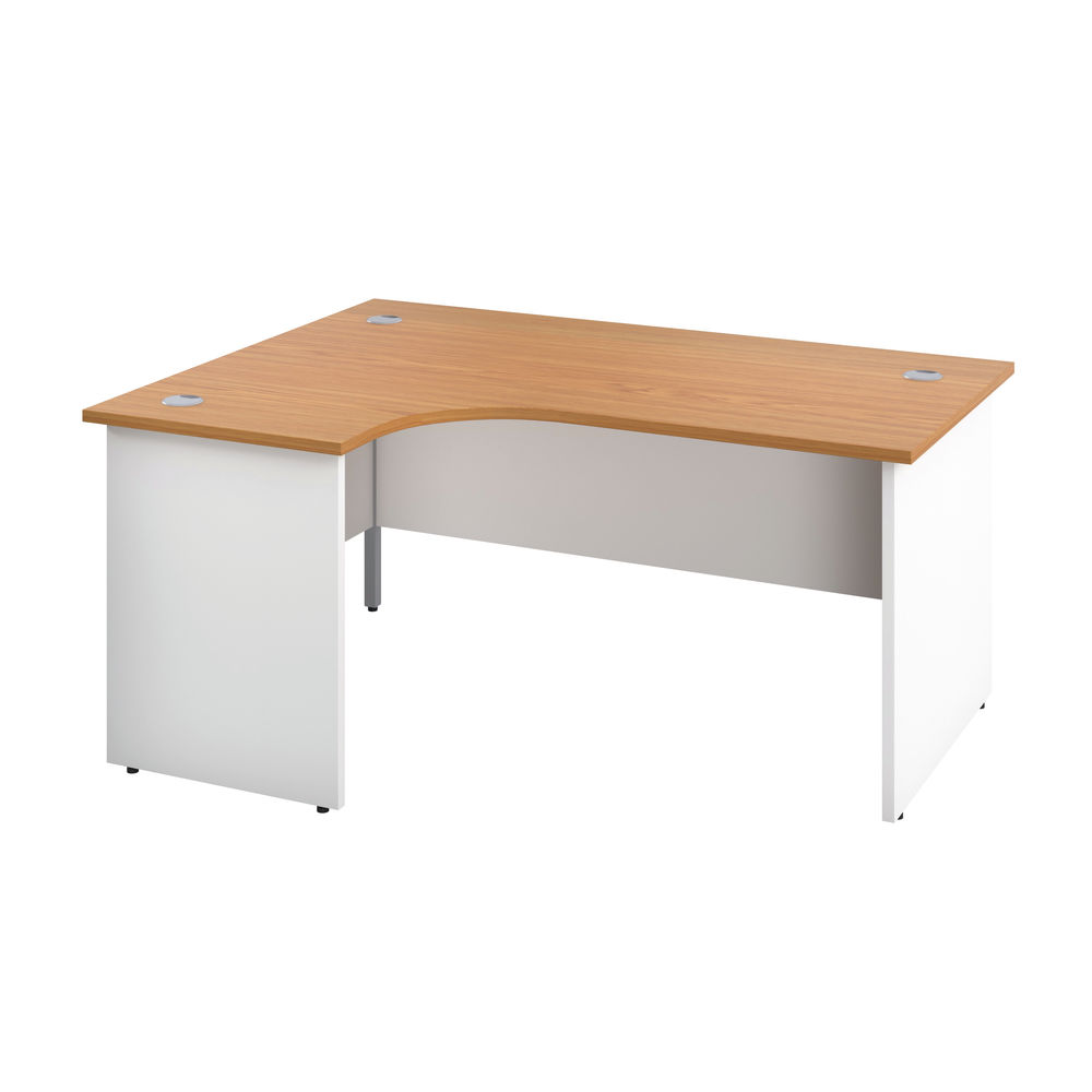 Jemini 1600mm Nova Oak/White Left Hand Radial Panel End Desk