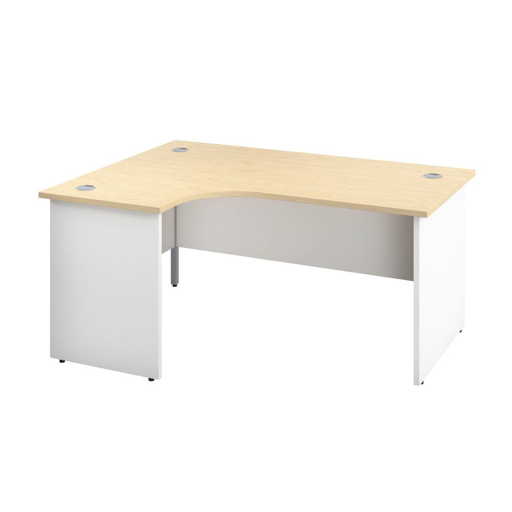 Jemini 1600mm Maple/White Left Hand Radial Panel End Desk