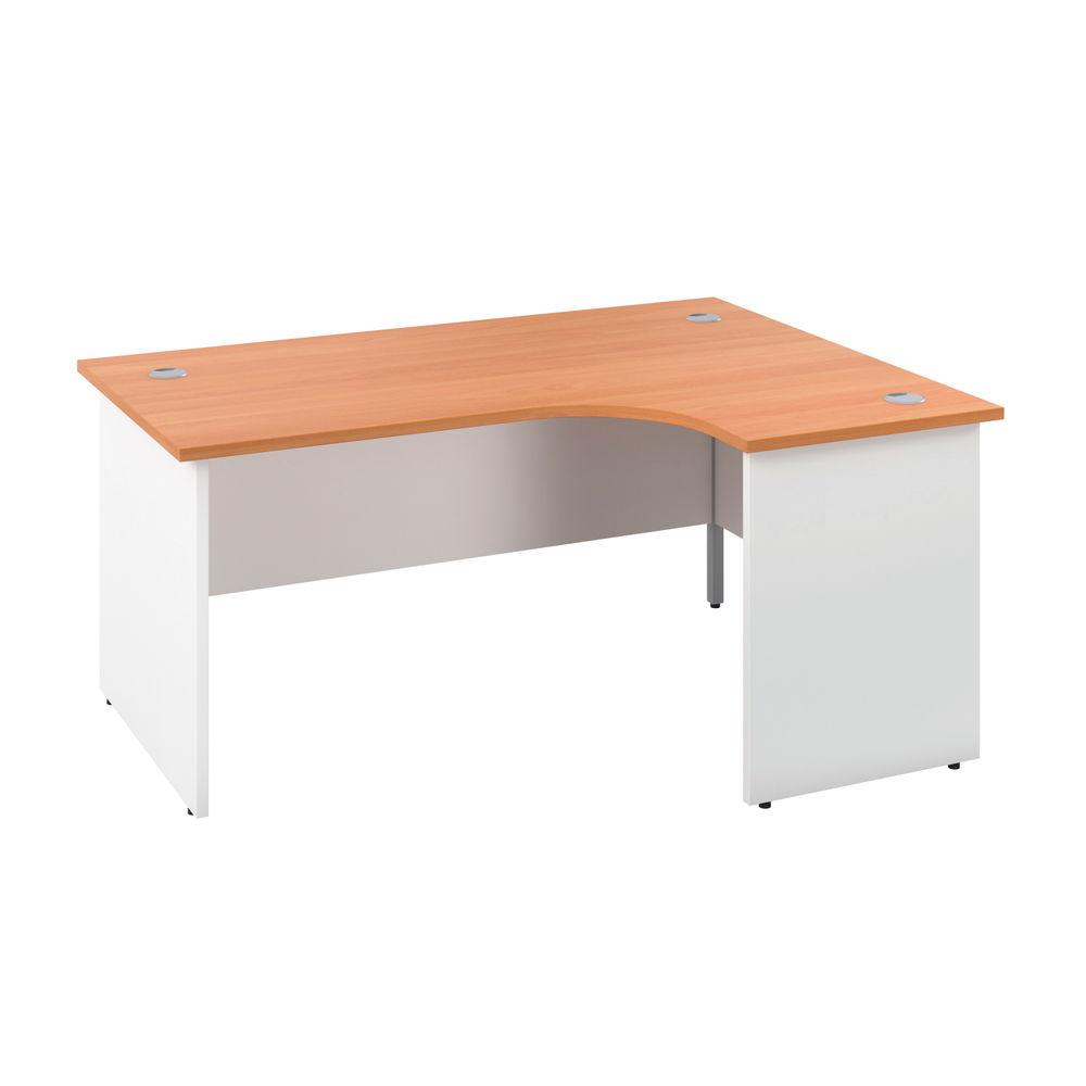 Jemini 1600mm Beech/White Right Hand Radial Panel End Desk