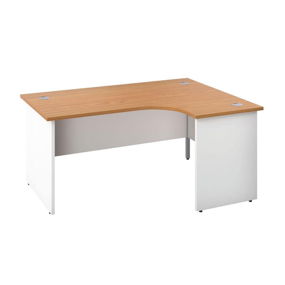Jemini 1600mm Nova Oak/White Right Hand Radial Panel End Desk