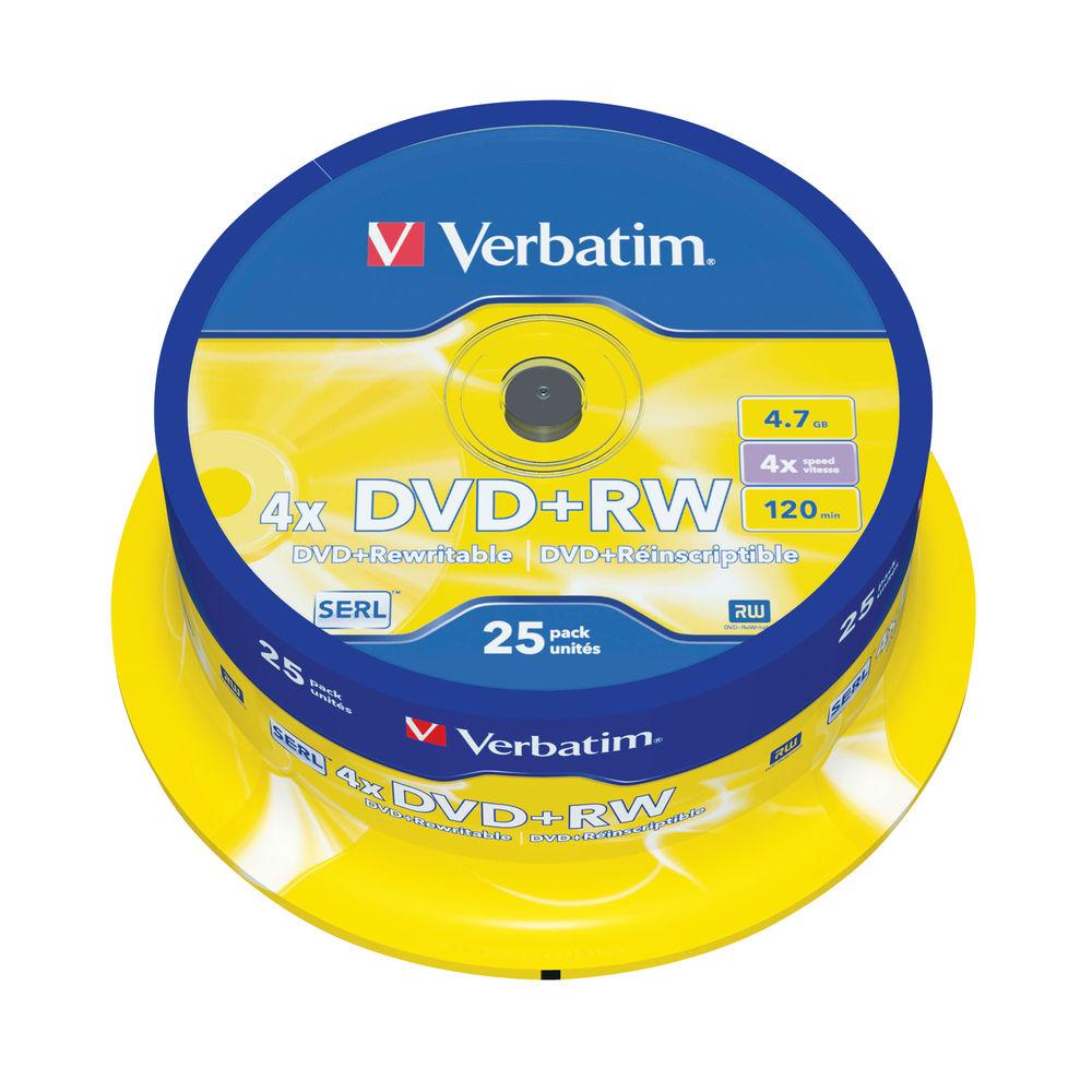 Verbatim Non-Printable 4.7GB 4x DVD+RW Discs (Pack of 25) - 43489