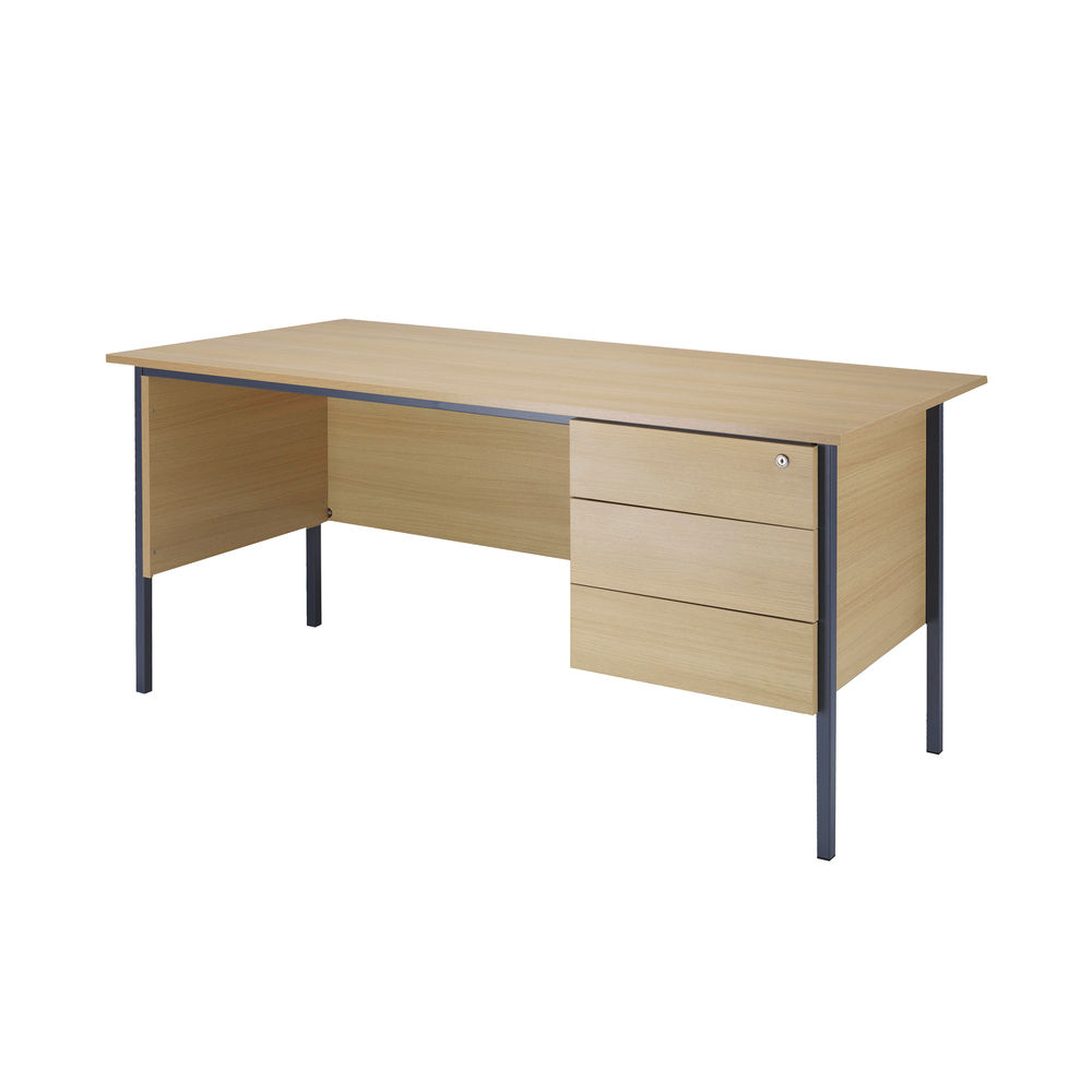 Serrion 1800mm Ferrera Oak 3 Drawer Pedestal 4 Leg Desk