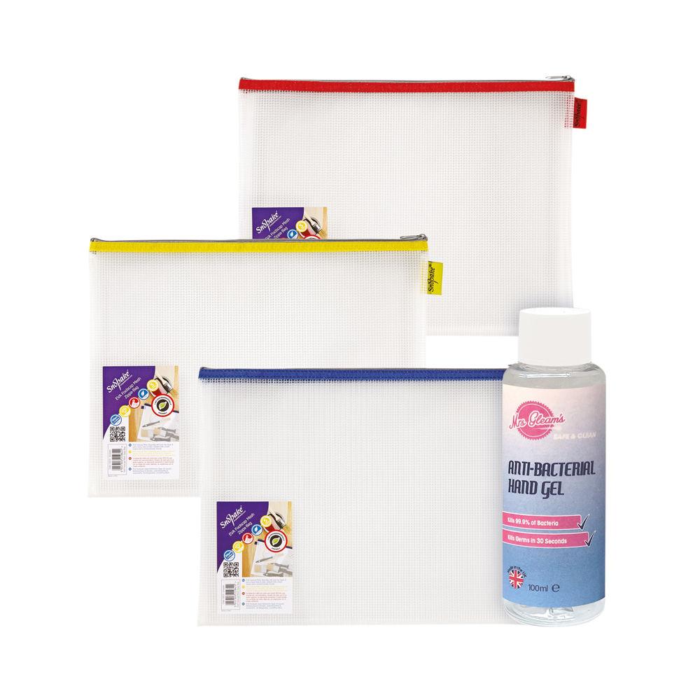Snopake EVA Zippa Bags (Pack of 3) with Hand Sanitiser - SK812412