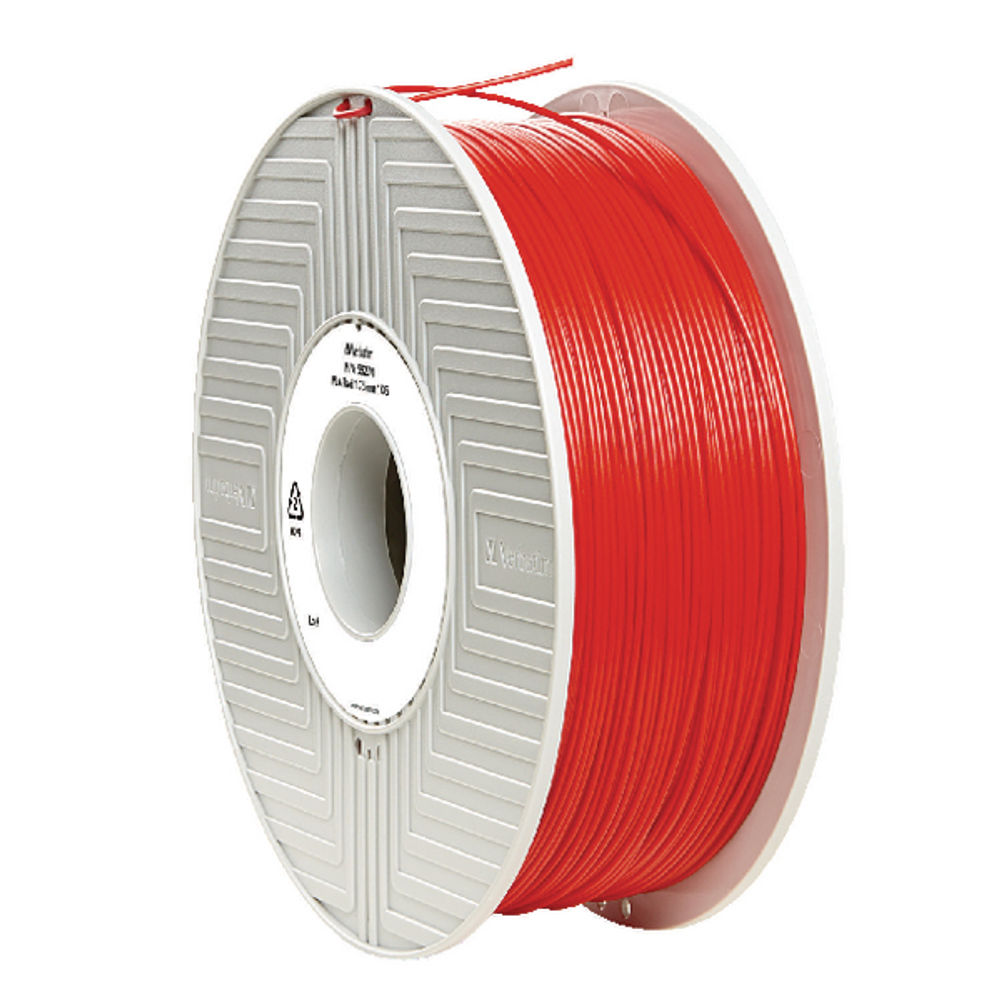 Verbatim Red 1.75mm PLA 3D Printing Filament, 1kg Reel - 55270