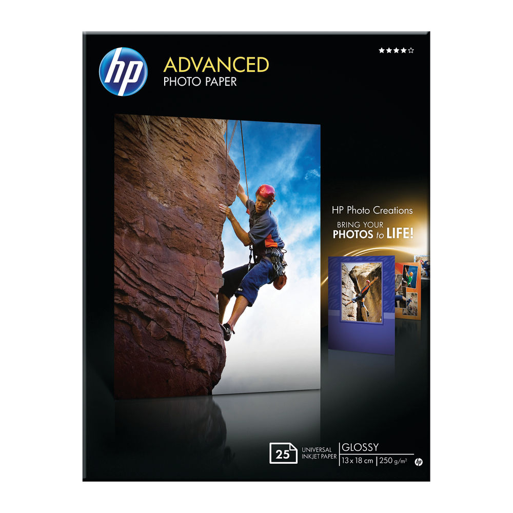 HP Advanced 13 x 18cm Glossy Photo Paper, 250gsm, Pack of 25 - Q8696A