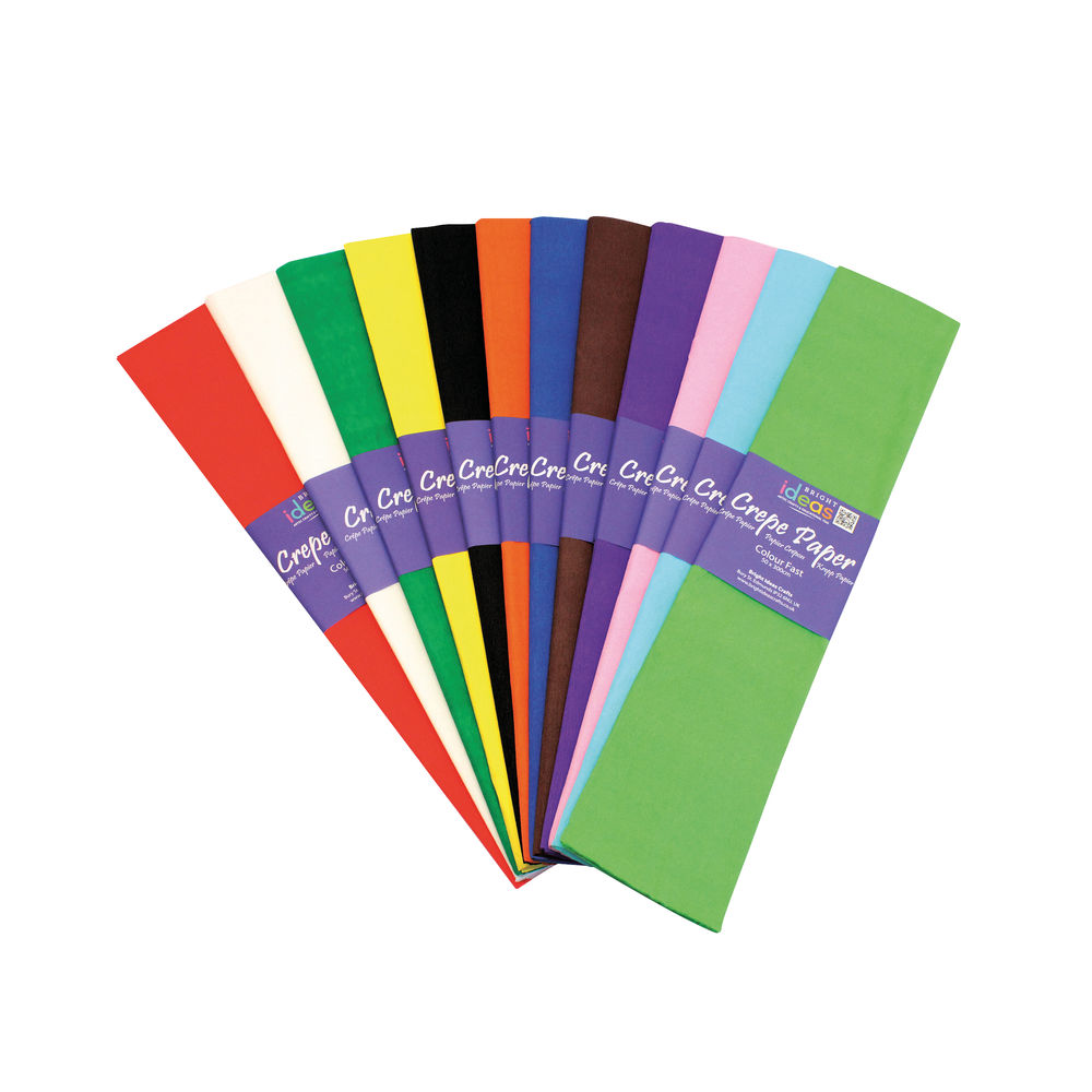Bright Ideas Crepe Paper, 500mm x 3m, Assorted - 12 Sheets - BI0568