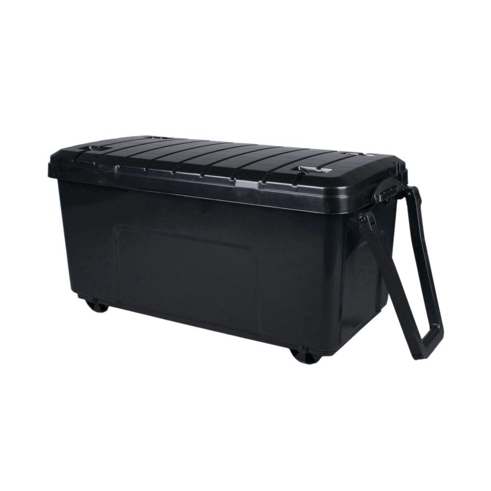 Really Useful 160L Plastic Storage Box With Lid Black 160LG-WHTR-BKCB
