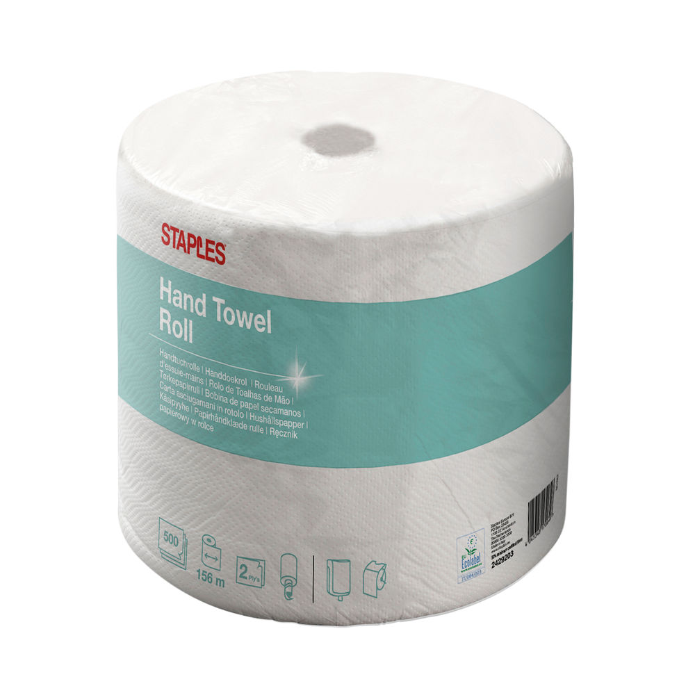 Staples Wiping Paper 2-Ply 500 Sheets 234mm Embossed White 416589