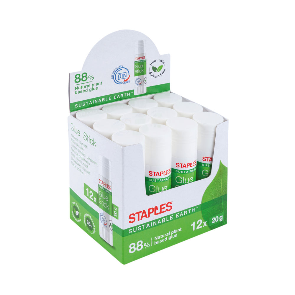Sustainable Earth by Staples Glue Stick 20g Clear (Pack of 12) 8852254