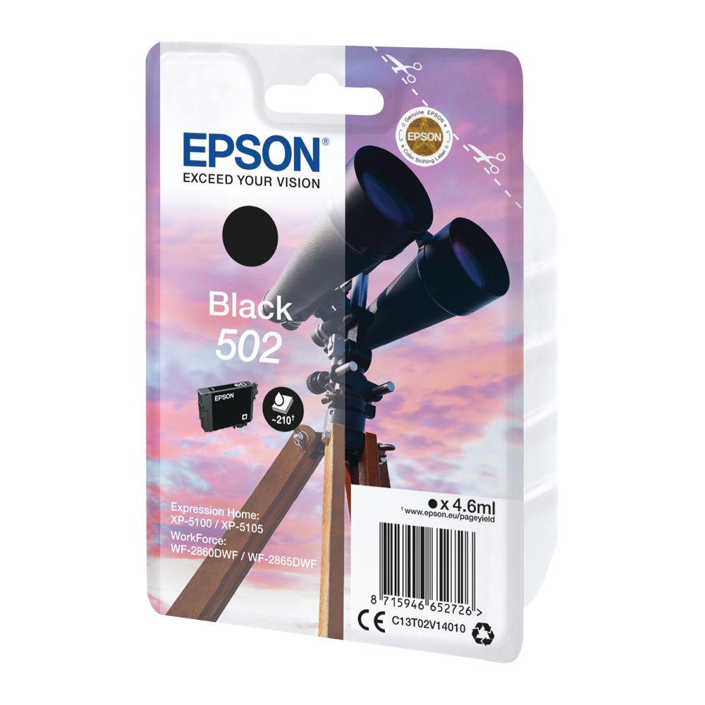 Epson Singlepack 502 Black Ink Cartridge - C13T02V14010