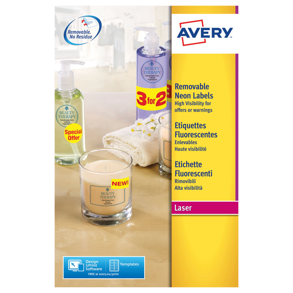 Avery High Visibility Neon Yellow Labels, 99.1x38.1mm (Pack of 350) - L7263Y-25
