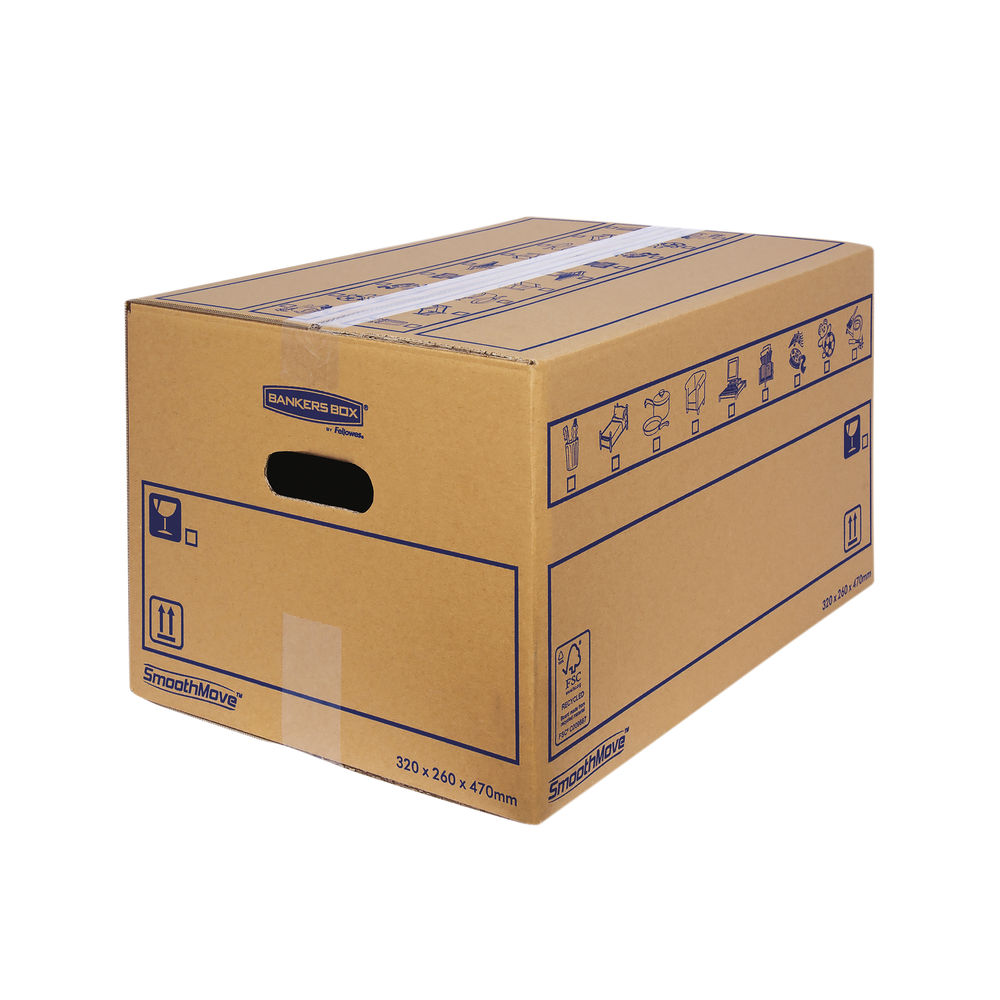 Bankers Box SmoothMove 320 x 260 x 470mm Brown Standard Moving Boxes, Pack of 10 - 6207201