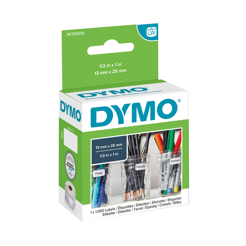 Dymo 11353 LabelWriter White 13 x 25mm Labels (Pack of 1000) S0722530