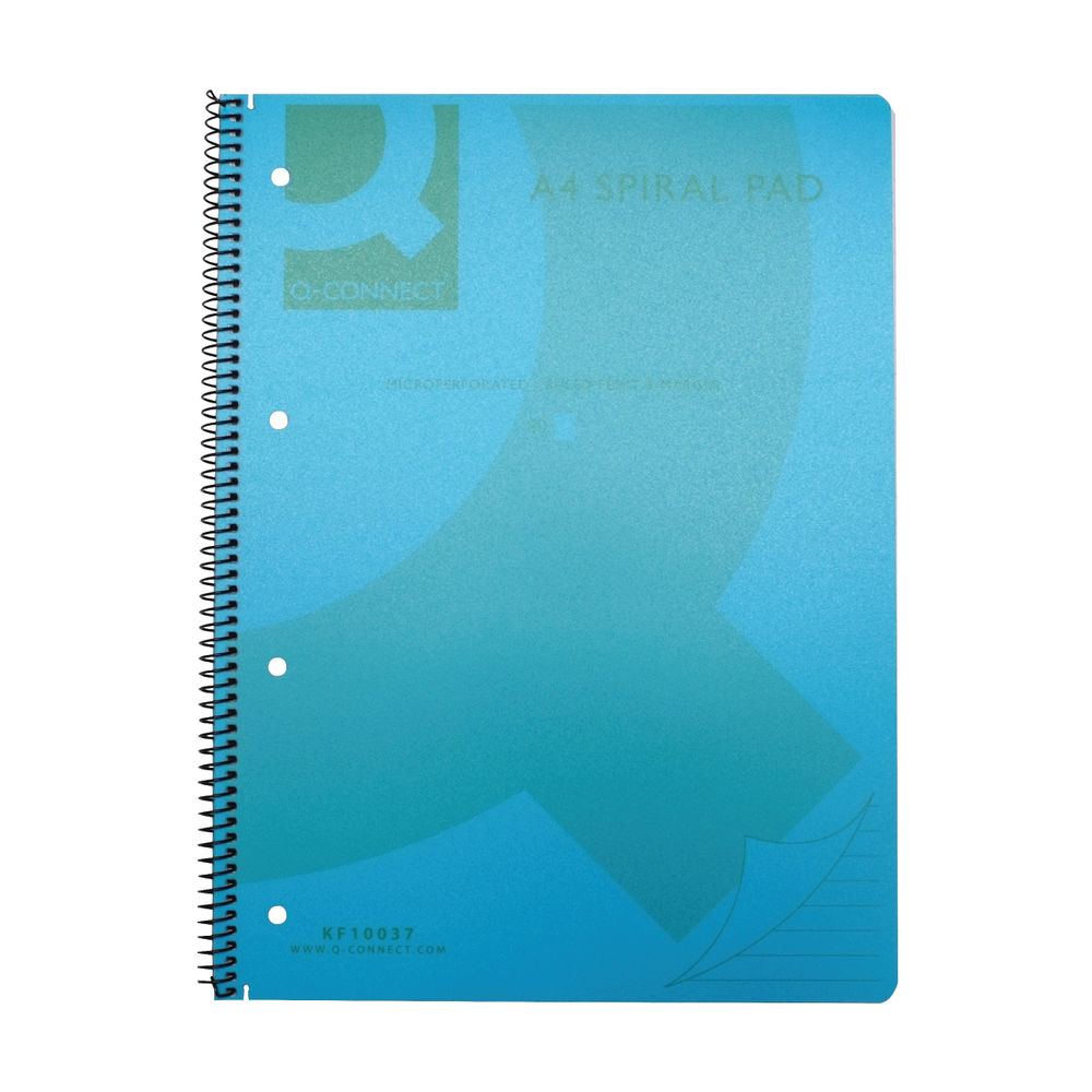 Q-Connect Blue A4 Polypropylene Notebooks, Pack of 5 - KF10037