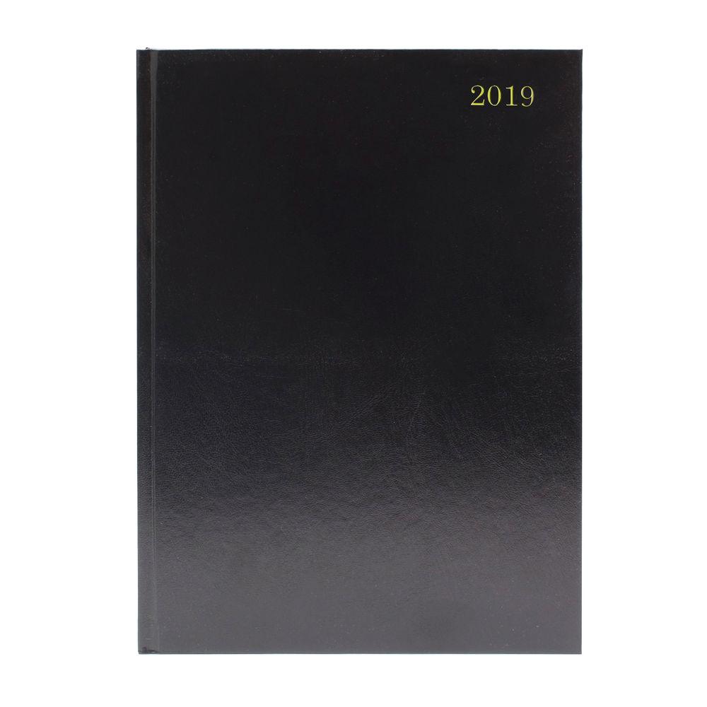Black 2019 Diary - Week to View - A5 Desk Diary - KFA53BK19
