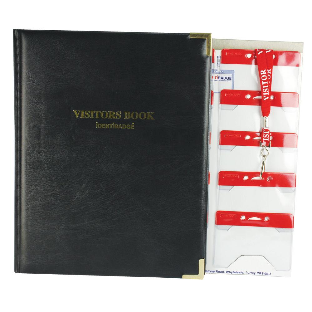 IdentiBadge Visitors Book Set -100 Inserts, 10 Holders, 10 Lanyards - SP50220