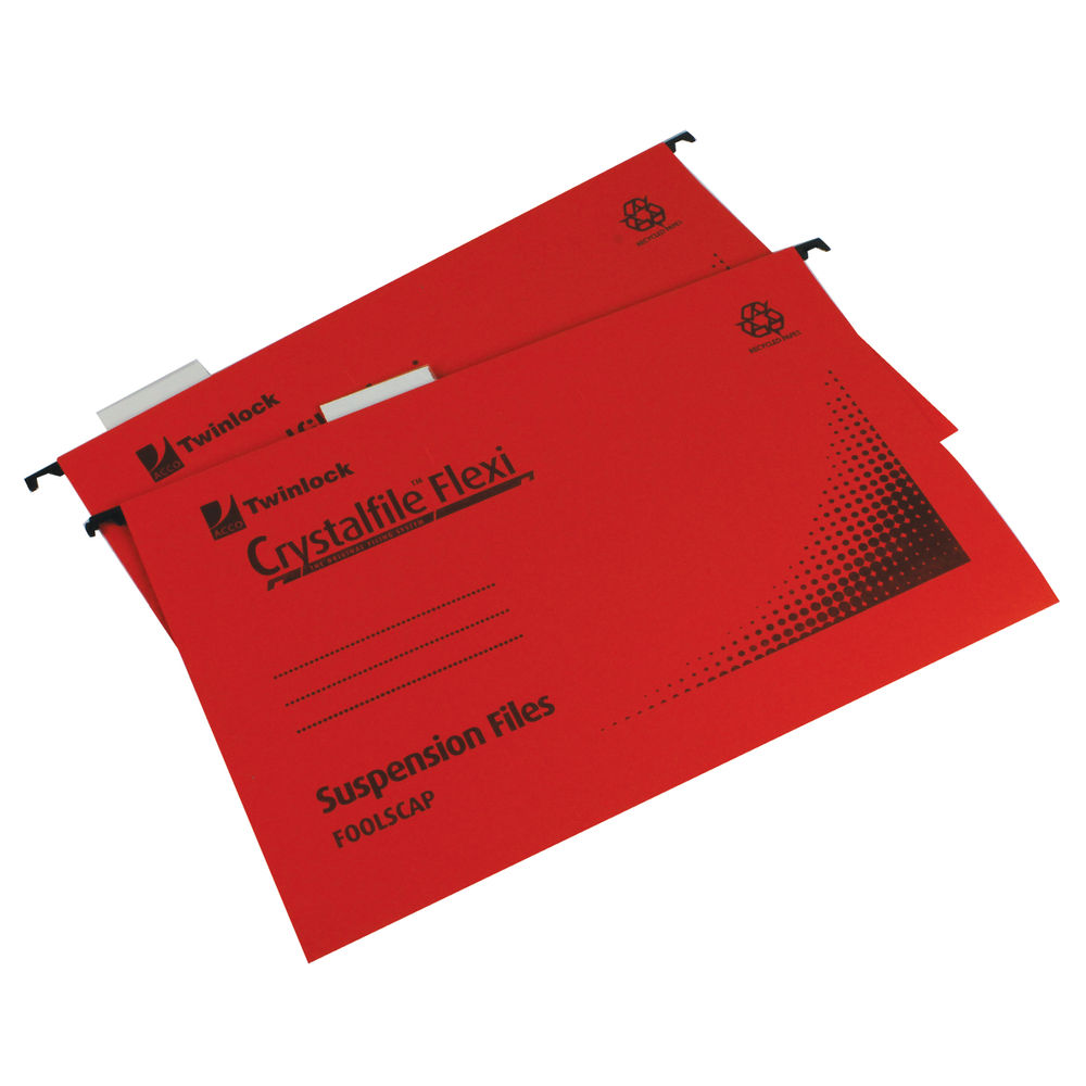 Rexel Crystalfile Red Flexifile Suspension Files, 15mm - Pack of 50 - 3000042