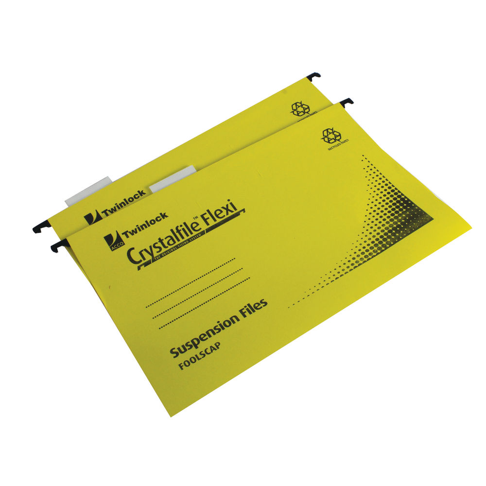 Rexel Crystalfile Flexi Foolscap 15mm Yellow Suspension Files, Pack of 50 - 3000043