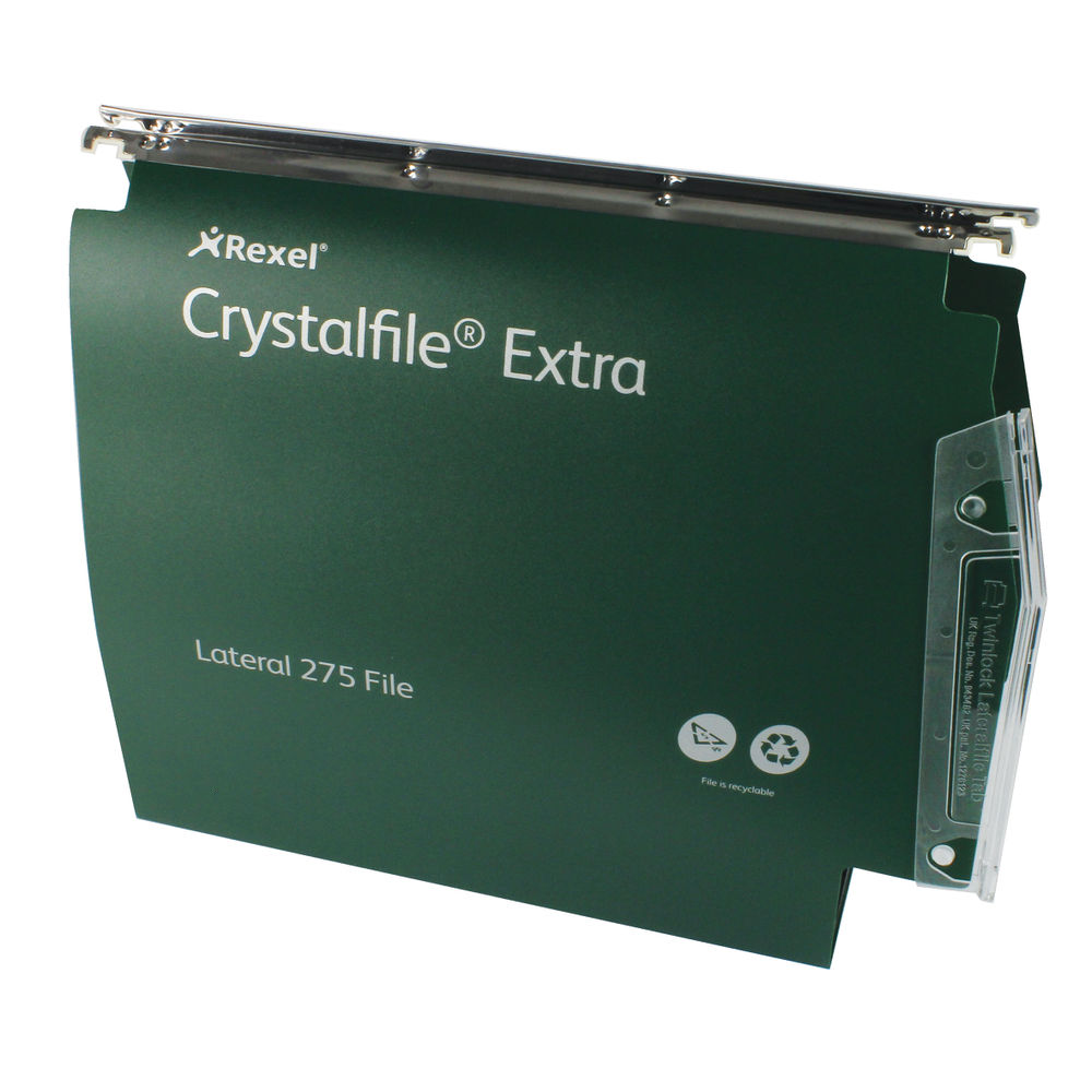 Rexel Crystalfile Extra Green A4 Lateral Files - Pack of 25 - 71763