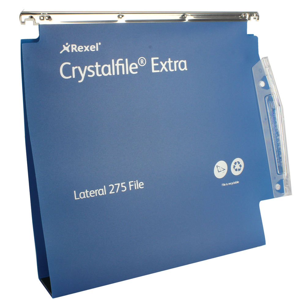 Rexel Crystalfile Extra A4 Blue Lateral File 50mm, Pack of 25 - 71765