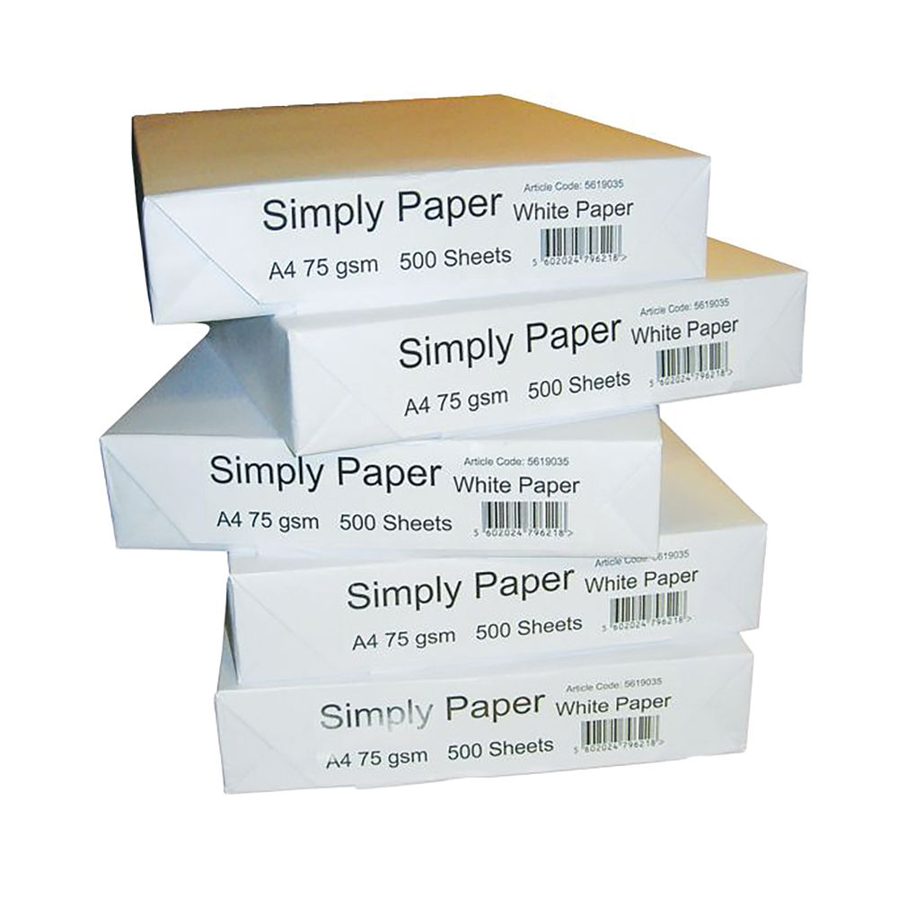 Simply A4 White Multipurpose Paper 75gm, Pack of 2500 - 5619035