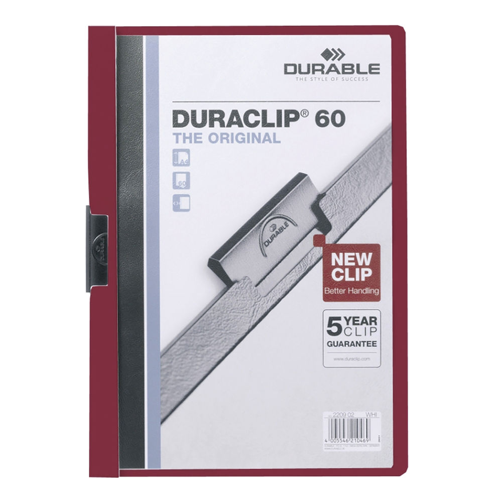 Durable Duraclip File A4 60 Sheets Red 2209 03