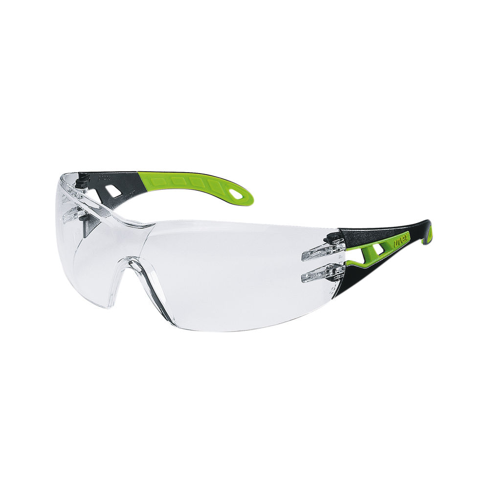 Uvex Pheos Ergonomic Safety Glasses Black/Lime Frame Clear Lens 9192-225