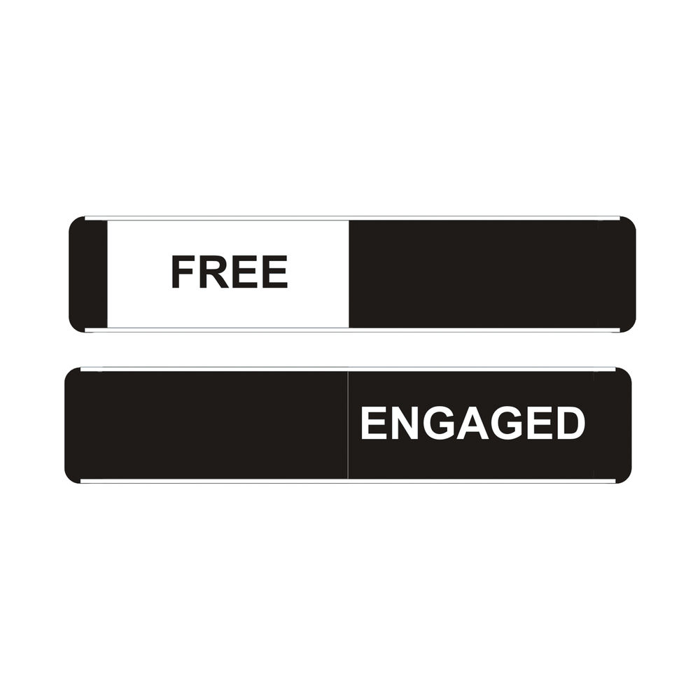 Sliding Sign Free/Engaged Self Adhesive 235 x 52mm Black/Silver OF135