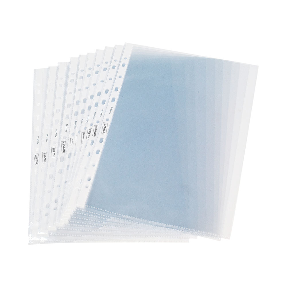 Staples Plastic White Strip A4 50 Micron Punched Pocket (Pack of 100) 100742028