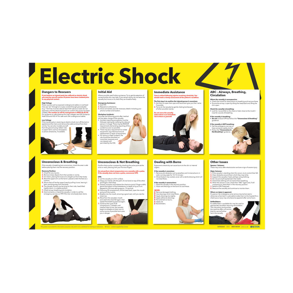 Health and Safety 420x594mm Electric Shock Poster FA551